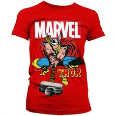 Marvel Comics Womens T Shirt The Mighty Thor ($31) ❤ liked on Polyvore featuring tops, shirts, marvel, marvel comics, marvel comics shirt, retro shirts, red shirt and retro tops