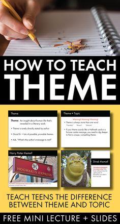 Free materials to help teens understand theme #highschool #middleschool #lessonidea #free