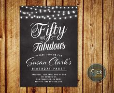50th Birthday Invitation // Fifty and Fabulous Birthday Invitation // String Lights Invitation // Chalkboard Invitation for Women // Female Invitation // Printable Birthday Invitation by ClickNshape on Etsy