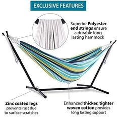 Cotton Hammock With Stand Outdoor Use Garden Decor Easter Relaxing Multi Color #Vivere