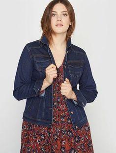 Veste longue en jean femme grande taille