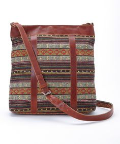 Love this Brown Geometric Stripe Crossbody Bag by I Love Accessories on #zulily! #zulilyfinds