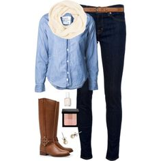 Denim by classically-preppy on Polyvore featuring Frank & Eileen, J Brand, Tory Burch, J.Crew, Dorothy Perkins, Bobbi Brown Cosmetics and Essie