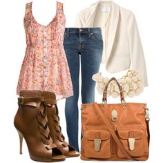floral tunic and jeans