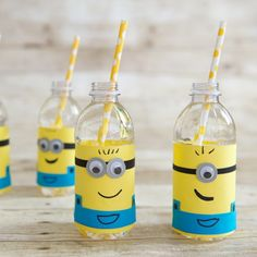 Your Despicable Me birthday party is almost done. Finish it off right with these crafty Minion water bottle covers.