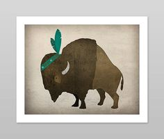 Bison Buffalo Native American Indian Graphic Art Stretched Canvas Ready-To-Hang Native American Nursery, Native American Indians, Tribal Nursery, Indian Nursery, Baby Buffalo, Harry Potter, Thing 1, Nursery Themes, Bedroom Themes
