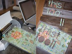 Lots of good ideas on how to do DIY quotes on wood or canvas. my favourite idea, cut out the letters on colourful scrapbook paper and modpodge it onto wood or canvas Pallet Projects Signs, Diy Craft Projects, Projects For Kids, Diy Crafts Videos, Diy Videos, Canvas Quotes, Scrapbook Paper, Scrapbooking, Easy Diy