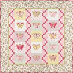 Butterfly Love. Nice pink squiggly border around squares.  Incorporate into other designs.