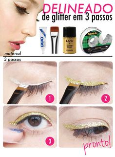 Eyelash glue + glitter = the most impressive glitter liner of all time. | 15 Ways To Amp Up Your Eyeliner Game