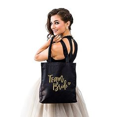 "You've asked your best friends to be members of your ""Team Bride"" and now you can show your appreciation by giving each of your bridesmaids a handy tote bag with a trendy and fun heat press motif announcing just whose side they're on!"