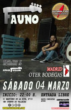 FAUNO CONCIERTO OTER BODEGAS (MADRID) | <M> Puente de Vallecas San Gil, Movies, Movie Posters, Fauna, Madrid, Gig Poster, Lonely, Guadalajara, Composers