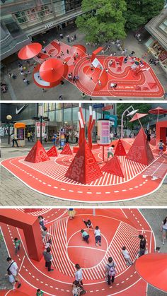 Design Vibrant Red Planet Playground in Shanghai com is part of Playground design - Known as Red Planet , this unconventional whimsical playground promotes interactions and provides a better shopping experience for customers with a fun twist Landscape Architecture, Landscape Design, Architecture Design, Playground Design, Outdoor Playground, Design D'espace Public, Parking Design, Urban Furniture, Public Art