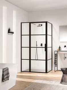 All Soho screen options are in height and come with easy clean safety glass. The matte-black steel framing is only to the exterior of the glass, therefore allowing easy cleaning to the interior glass without any physical barriers. White Bathroom, Bathroom Interior, Modern Bathroom, Small Bathroom, Soho, Bathroom Toilets, Shower Enclosure, Bathroom Inspiration, Powder Rooms