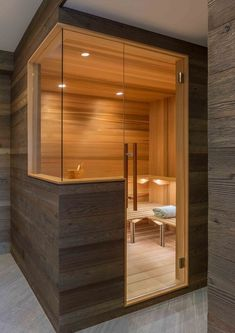Nadire Atas on Scandinavian Bedrooms / Home Design Idea This modern sauna has been specially designed to include glass panels that provide continuous views. Infrarot Sauna, Sauna Room, Modern Saunas, Modern Wood House, Sauna Design, Contemporary Interior Design, Modern Contemporary, House In The Woods, House Plans