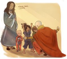 Aang returns home in the morning from one of his Avatar field trips.