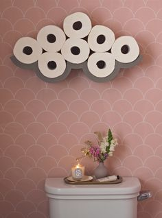 Cloud concrete toilet roll holder. Showerwall bathroom panels acrylic pink bathroom. Clever idea accessories. Art Deco Bathroom, Bathroom Interior, Small Bathroom, Bathroom Ideas, Small Toilet Decor, Large White Tiles, Pink Bathroom Accessories, Toilet Accessories, Pink Toilet
