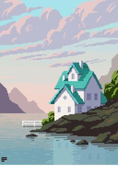 Pixel house landscape by 8bitnoob