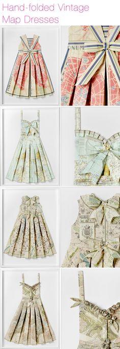 Hand-folded paper map dresses.