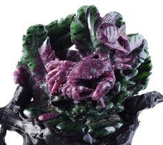 Natural Ruby Zoisite Crab & Flatfish Gemstone Carving