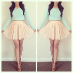 love this circle skirt and the neutral and pastel color!