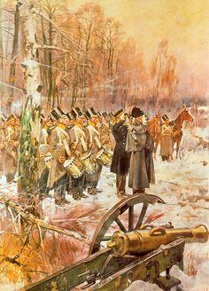 Wojciech Kossak. Przegląd 4 pułku piechoty na pozycji w Olszynce Grochowskiej