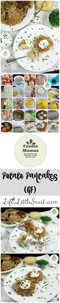 Potato Pancakes (GF): This simple Potato Pancake recipe is gluten-free with only 4 ingredients - red potatoes, onions, eggs and salt. It makes a large batch, using a 5-lb bag of potatoes which is great for feeding a crowd. #FoodieMamas #lifeslittlesweets #potatopancakes #potato #glutenfree #gf