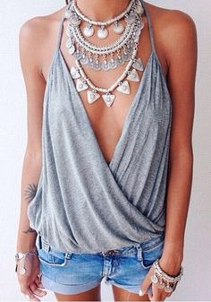Grey Plain Condole Belt Pleated V-neck Backless Vest