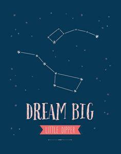 Dream Big Little Dipper - Navy & Pink Art Print Big Dipper Tattoo, Tattoo Blog, I Tattoo, Little Dipper Constellation, Big Dipper Little Dipper, Astronomy Tattoo, Sorority Canvas, Big Little Reveal, Ursa Major