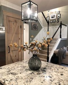"I get so many questions about our granite countertops, so I thought I would share all of the details! They are ""White Galaxy"" granite, but… Rustic Kitchen Decor, Farmhouse Decor, Farmhouse Stairs, Country Style Homes, First Home, My New Room, My Dream Home, Dream Life, Home Projects"