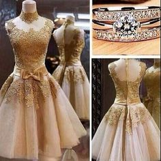 2015 elegant golden flower lace organza vintage short prom dress for teens, ball gown, evening dress, homecoming dress, plus size dresses Prom Dresses 2016, Prom Dresses For Teens, Cute Dresses, Beautiful Dresses, Short Dresses, Wedding Dresses, Dress Prom, Dance Dresses, Dress Lace