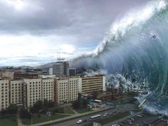 the largest tsunami ever - Written by Weekend Mirror in the article it was in. I was inspired by this photograph because it is so graphic and is very exciting to see what would happen next!