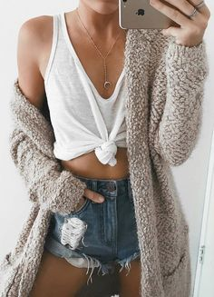 cardigan + white crop top + denim shorts