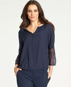 Dot Print Lace Sleeve Top
