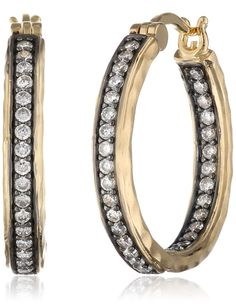 18K Yellow Gold-Plated Two-Tone Bronze Cubic Zirconia Hammered Hoop Earrings (0.96 cttw) ** Check this awesome product by going to the link at the image.