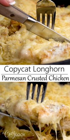 This Copycat Longhorn Parmsan Crusted Chicken recipe has an easy marinade and a . This Copycat Longhorn Parmsan Crusted Chicken recipe has an easy marinade and a delicious Parmesan Crust that's baked on top. It tastes JUST like the restaurant version! Chicken Parmesan Recipes, Easy Chicken Recipes, Easy Dinner Recipes, Crispy Chicken, Crack Chicken, Chicken Rice, Chicken Soup, Rotisserie Chicken, Bbq Chicken