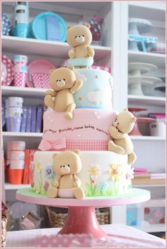 Ideas For Baby Shower Cake Bear Sweets Baby Cakes, Baby Shower Cakes, Baby Shower Pasta, Girl Cakes, Cakes For Girls, Fondant Cakes, Cupcake Cakes, Fondant Cake Tutorial, Fondant Baby