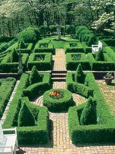 Garden Walkways Bricks encircle rondel and change levels in formal boxwood garden. Tom Woodham - Bricks encircle rondel and change levels in formal boxwood garden. Boxwood Garden, Topiary Garden, Garden Pool, Garden Paths, Garden Art, Garden Design, Box Garden, Topiaries, Formal Gardens