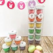 pastel playdough tower is a colorful (sugar-free) addition to your easter baskets.
