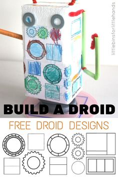 Building Droids and Robots STEAM Activity with Free Coloring Sheets. Design and build droids and robots. Also makes a fun Star Wars activity to build a droid.