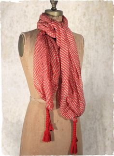 The cheery red checked scarf ends in braided yarn tassels.