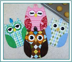 Pattern Owl Hot Pads Trivets
