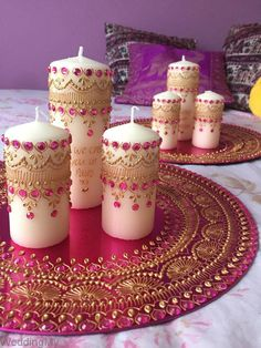 Wedding mehndi thaal candle set home decor image 2 Desi Wedding Decor, Indian Wedding Decorations, Diy Wedding, Henna Party, Creation Bougie, Arabian Nights Party, Henna Candles, Diwali Candles, Mehndi Night