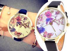 Zegarek Damski Slim Kwiaty Wiosenny Motyl EdiBazzar Boho Style, Boho Fashion, Watches, Disney, Leather, Accessories, Paper, Bohemian Fashion, Wristwatches