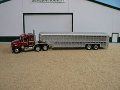 Custom Gooseneck Livestock Trailer and Truck. Farm Trucks, Toy Trucks, Livestock Trailers, Lego Truck, Cattle Farming, Toy Display, Farm Toys, Small Farm, Toys For Boys