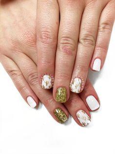 Cactus nails. White and gold nails. #PreciousPhan