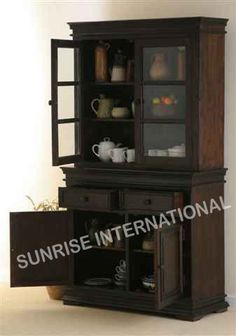 Contemporary Design Wooden Glass Cabinet Kitchen Crockery Unit