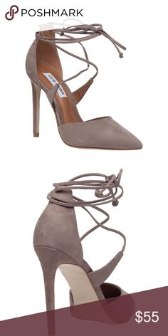 """Steve Madden Raela These are SO CUTE and comfortable! Worn 3 times. Good condition. Color is called brown - more of a taupey brown. 4"""" heel. 3"""" ankle strap height. Lace-up style. Leather upper and lining/synthetic sole. Steve Madden Shoes Heels"""