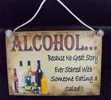 Country Printed Quality Wooden Sign *Alcohol Story* Funny Inspiring Plaque New