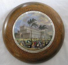 Vtg Prattware pot lid Grand International Building of 1851+ frame | eBay