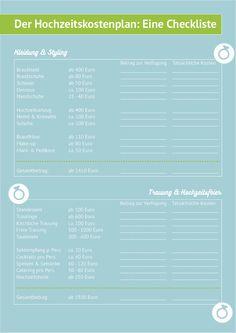 Dein Hochzeitskostenplan! Behalte den Überblick ;) #hochzeit #kostenplan #checkliste #wedding #kosten #hochzeitskostenplan #geld #download